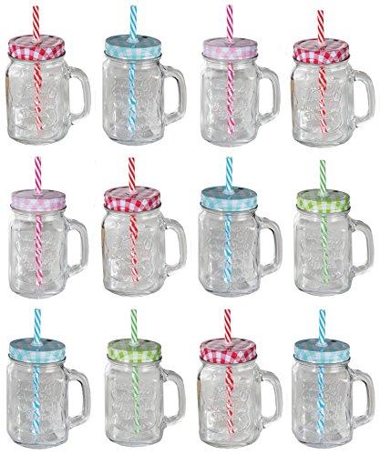 12er Set Trinkglas klar Karo mit Deckel und Strohhalm + Apfelessig OO