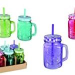 12er Set Trinkglas mit Henkel Deckel Strohhalm Trinkbecher Glas Vintage Retro 400ml bunt