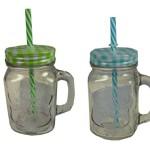 2 Stück Trinkglas Einmachglas mit Henkel, kariertem Deckel und stabilem Strohhalm, je ca. 450ml