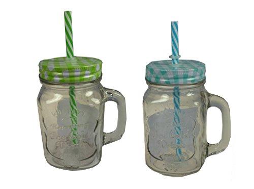 2 st ck trinkglas einmachglas mit henkel kariertem deckel. Black Bedroom Furniture Sets. Home Design Ideas