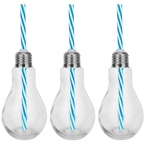 3er SET Trinkgläser - Glühbirne Motiv aus Glas mit Strohhalm und Deckel - blau
