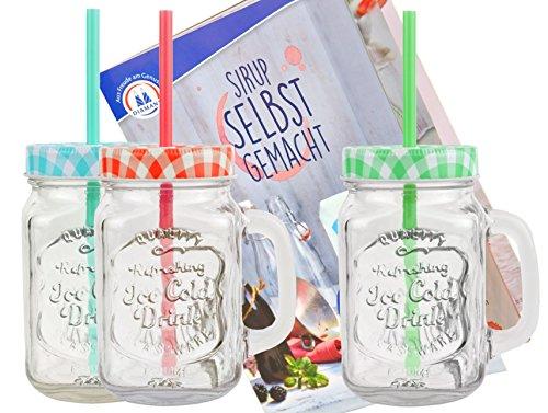 3er Set Glasbecher mit Henkel, Deckel und Trinkhalm inkl. Rezeptheft - grün / rot / türkis kariert - 0,5 Liter Trinkbecher / Trinkglas mit Relief - für Säfte, Smoothies und andere Erfrischungsgetränke