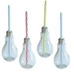 4 Gläser Glühbirne mit Deckelund Trinkhalm a 180ml