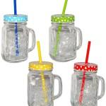 """4 Stk _ Henkelbecher - Gläser mit Deckel & Strohhalm - bunte Farben & Punkte - Trinkbecher als """" Milchglas """" Sommerglas - z.B. Limonade Erfrischung Sommer - Flasche - Smoothie Becher Trinkglas Trinkflasche - Trinkgläser Einmachglas / Einweckglas - Glasbecher"""