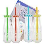 4-er Set Glasflaschen mit Deckel und Trinkhalm inkl. Rezeptheft - Gelb, Rot, Grün, Hellblau - 400 ml Trinkflasche / Trinkglas mit Relief - für Säfte, Smoothies und andere Erfrischungsgetränke