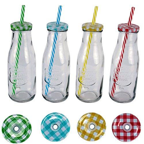 """4 x Insektenabwehr-Glas mit Strohhalm + Deckel 420 ml """"ICE COLD DRINK"""" bunt"""