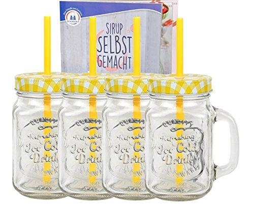4er Set Glasbecher mit Deckel und Trinkhalm inkl. Rezeptheft - gelb kariert - 0,5 Liter Trinkbecher / Trinkglas mit Relief - für Säfte, Smoothies und andere Erfrischungsgetränke
