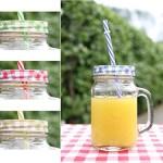 4er Set Gläser mit Trinkhalm und Deckel ' Karo ' ca. 115 ml