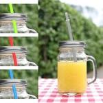 4er Set Gläser mit Trinkhalm und Deckel ca. 450 ml