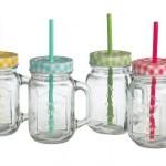 4er Set Trinkglas Krug mit Deckel und Strohhalm bunt sortiert