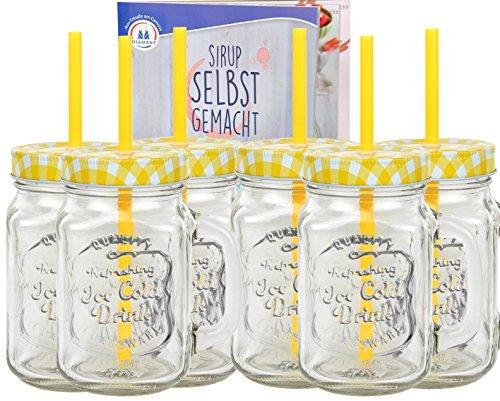 6er Set Glasbecher mit Deckel und Trinkhalm inkl. Rezeptheft - gelb kariert - 0,5 Liter Trinkbecher / Trinkglas mit Relief - für Säfte, Smoothies und andere Erfrischungsgetränke