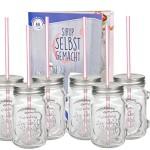 6er Set Glasbecher mit Henkel, Deckel und Trinkhalm inkl. Rezeptheft - Silber - 0,45 Liter Trinkbecher / Trinkglas mit Relief - für Säfte, Smoothies und andere Erfrischungsgetränke
