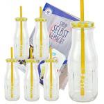 6er Set Glasflasche mit Deckel und Trinkhalm inkl. Rezeptheft - gelb kariert - 400 ml Trinkflasche / Trinkglas mit Relief - für Säfte, Smoothies und andere Erfrischungsgetränke