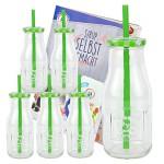 6er Set Glasflasche mit Deckel und Trinkhalm inkl. Rezeptheft - grün kariert - 400 ml Trinkflasche / Trinkglas mit Relief - für Säfte, Smoothies und andere Erfrischungsgetränke