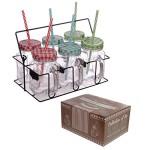 6er Set Gläser mit Deckel, Strohhalm und Beschriftungstafel im Tragekorb