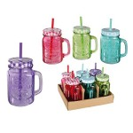 6er Set Trinkglas Henkel Halm Trinkhalm Trinkbecher Glas Becher 400ml BUNT