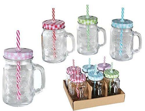6er Set Trinkglas Henkel Halm Trinkhalm Trinkbecher Glas Becher Vintage 400ml
