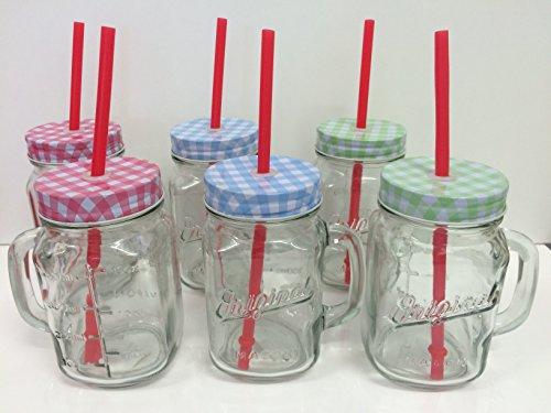 """6er-Set Trinkglas """"Original"""" mit Henkel, rotem Trinkhalm und Schraubdeckel - in Rot, Grün & Blau 400ml - Wespenschutz"""