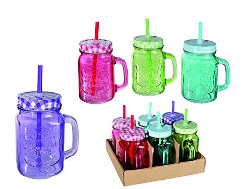 6er Set Trinkglas mit Henkel Deckel Strohhalm Trinkbecher Glas Vintage Retro 400ml bunt