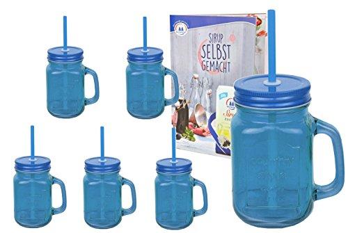 6er Set blaue Glasbecher mit Henkel, Deckel und Trinkhalm inkl. Rezeptheft - 0,45 Liter Trinkbecher / Trinkglas mit Relief - für Säfte, Smoothies und andere Erfrischungsgetränke