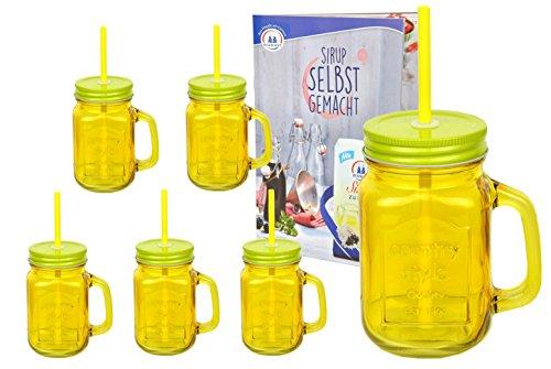 6er Set gelbe Glasbecher mit Henkel, Deckel und Trinkhalm inkl. Rezeptheft - 0,45 Liter Trinkbecher / Trinkglas mit Relief - für Säfte, Smoothies und andere Erfrischungsgetränke