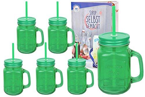 6er Set grüne Glasbecher mit Henkel, Deckel und Trinkhalm inkl. Rezeptheft - 0,45 Liter Trinkbecher / Trinkglas mit Relief - für Säfte, Smoothies und andere Erfrischungsgetränke