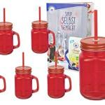 6er Set rote Glasbecher mit Henkel, Deckel und Trinkhalm inkl. Rezeptheft - 0,45 Liter Trinkbecher / Trinkglas mit Relief - für Säfte, Smoothies und andere Erfrischungsgetränke