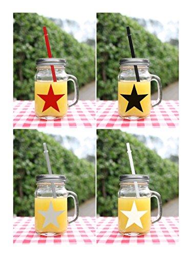 BADA BING 4er Set Trinkglas 4 farbiger Stern, Deckel Strohhalm + Vitamin Fibel