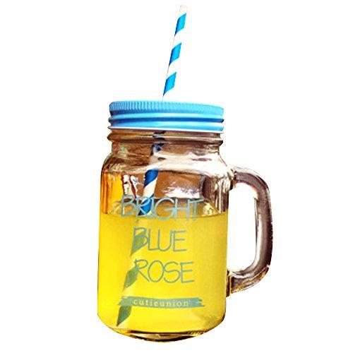 Japace® Trinkglas mit Henkel , Farbigem Deckel und Trinkhalm für Saft , Cocktails , Smoothies , Geschabte und Milchshakes - Blau 500 ml