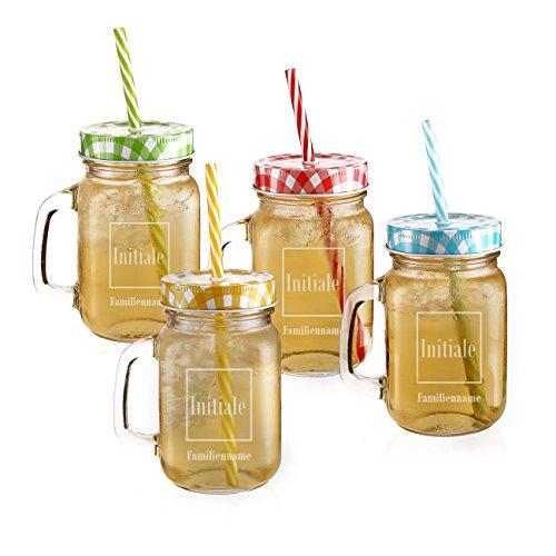 Privatglas Mason Jar Trinkgläser 4er Set mit Gratis Gravur Ihres Familiennamens oder Firma