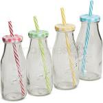 Strohhalm Glas-Trinkflaschen klar 4er Set bunte Deckel grün gelb rot blau je 6x19 cm / 300 ml *** VOLL IM TREND ***