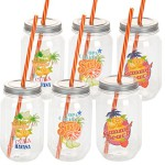 Trinkglas 450ml mit Deckel und Trinkhalm - 6er Set - mit 3 sommerlichen Motiven - Material: Kunststoff - sehr leicht und widerstandsfähig
