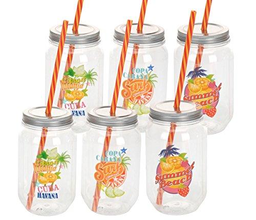 Trinkglas 450ml mit deckel und trinkhalm 6er set mit 3 for Deckel trinkglas