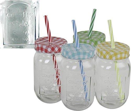 Trinkglas Country Style für Garten und Terrasse ohne Henkel mit Strohhalm und Deckel im 4er Set