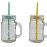 Trinkglas Henkel Halm Trinkhalm Trinkbecher Glas Becher Vintage 500ml (1 stück, Blau)