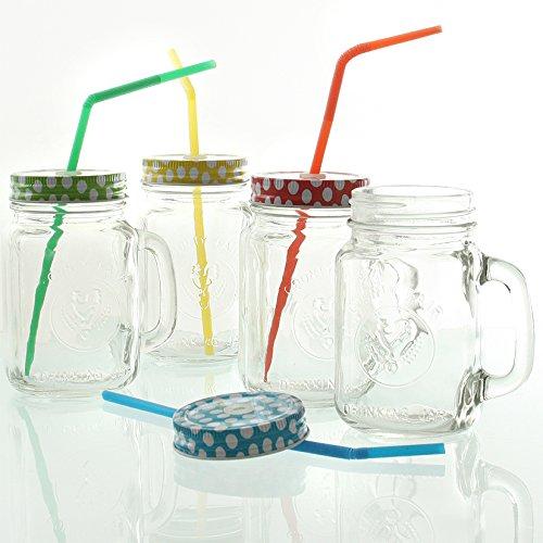 Trinkglas Henkelglas mit Deckel 4 - er Set, Deckel 4 Farben sortiert