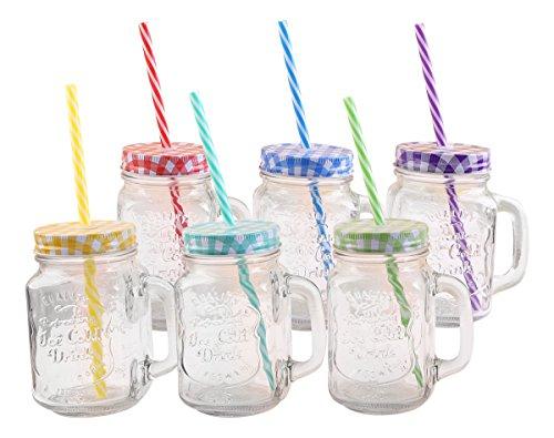 Trinkglas mit Deckel und Trinkhalm
