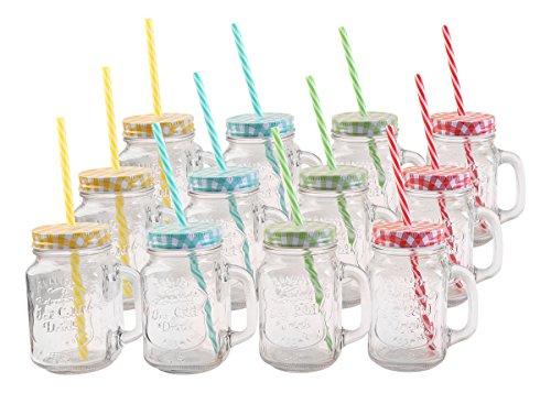 Trinkglas mit Deckel und Trinkhalm, 12er Set