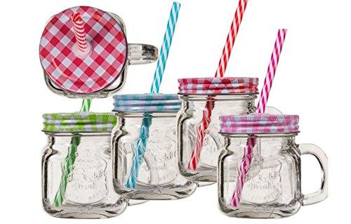 Trinkglas mit Henkel und farbigem Deckel mit Strohhalm Einmachglas Optik 220 ml 6 Stück