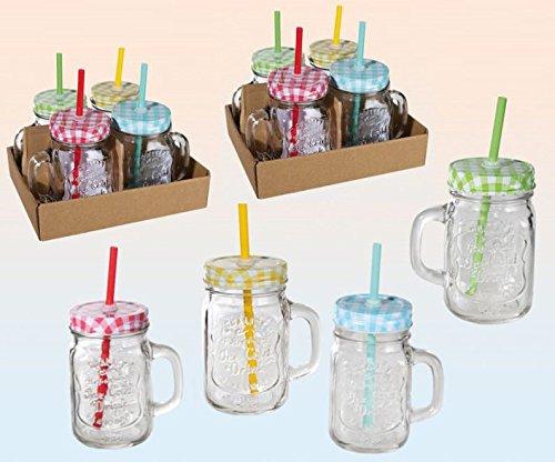 Trinkglas mit Henkel und farbigem Karodeckel mit Strohhalm Einmachglas Optik 450 ml 12 Stück