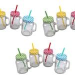 Trinkgläser mit Henkel mit Deckel und Trinkhalm 12 Gläser Set a 0,5l