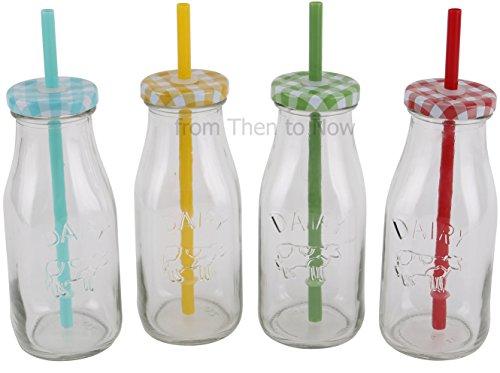 Vintage Set von 4Glas Milch Milchshake Smoothie Flaschen mit Gingham Deckel & Strohhalme
