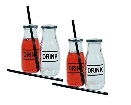 Viva-Haushaltswaren - 4 Trink- / Smoothies-Glasflaschen ca. 300 ml mit Strohhalm
