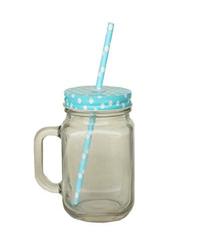 Vorratsglas mit Stroh 420ml-Deckel und Strohhalm aus Pappe Festplatte-Eine Handvoll wie Topf Mason Jar-Ideal für Smoothies & Fruchtsaft, Couvercle bleu points blancs, 420ml : 13cm x 7,5cm x 7,5cm    largeur avec anse : 10cm