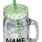 """1 Stk: Henkelbecher incl. Namen - Glas mit Deckel & Strohhalm - Flasche z.B. Limonade Erfrischung Sommer - Trinkbecher als """" Milchglas """" Sommerglas - Smoothie Becher Trinkglas Trinkflasche - bunte Farben"""