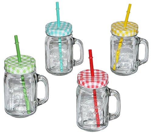 """4 Stk _ Henkelbecher - Gläser mit Strohhalm Deckel - bunte Farben - Trinkbecher als """" Milchglas """" Sommerglas - Flasche z.B. Limonade Erfrischung Sommer - Smoothie Becher Trinkglas Trinkflasche"""