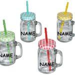 """4 tlg. Set: Henkelbecher - incl. Name - Glas mit Deckel & Strohhalm - Flasche z.B. Limonade Erfrischung Sommer - Trinkbecher als """" Milchglas """" Sommerglas - Smoothie Becher Trinkglas Trinkflasche - bunte Farben"""