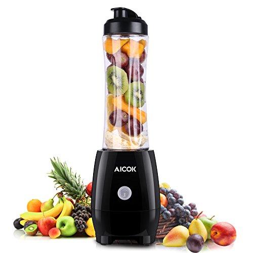 Aicok Standmixer Mini Mixer Entsafter mit 4 Edelstahlmesser Smoothie Maker mit 600ml, Trinkflasche, Eletronischer Icecrusher mit 4 Edelstahlmesser Rührgerät, Tritan Trinkflasche, 300 Watt, BPA frei