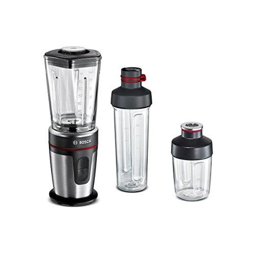 Bosch MMBM7G3M Standmixer, ThermoSafe Glasbehälter, ToGo Mix-/Trinkbecher, Universalzerkleinerer, 350 W, schwarz / edelstahl gebürstet