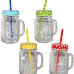 """Henkelbecher - Glas mit Deckel & Strohhalm - bunte Farben & Punkte - Trinkbecher als """" Milchglas """" Sommerglas - z.B. Limonade Erfrischung Sommer - Flasche - Smoothie Becher Trinkglas Trinkflasche - Trinkgläser Einmachglas / Einweckglas - Glasbecher"""
